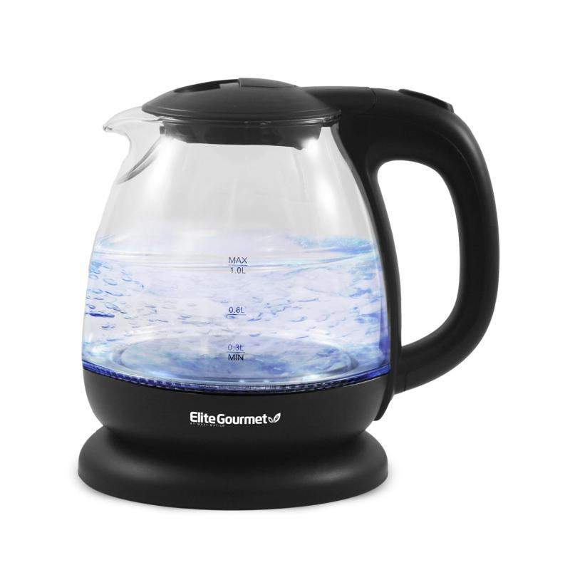 Maxi-Matic Elite Gourmet 1L Electric Glass Water Kettle - Black