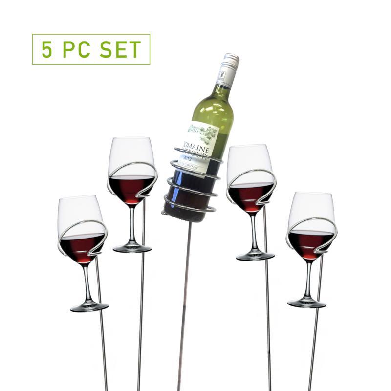 Mind Reader Metal 5-Pc Wine Bottle and Glass Holder Sticks Set, Silver