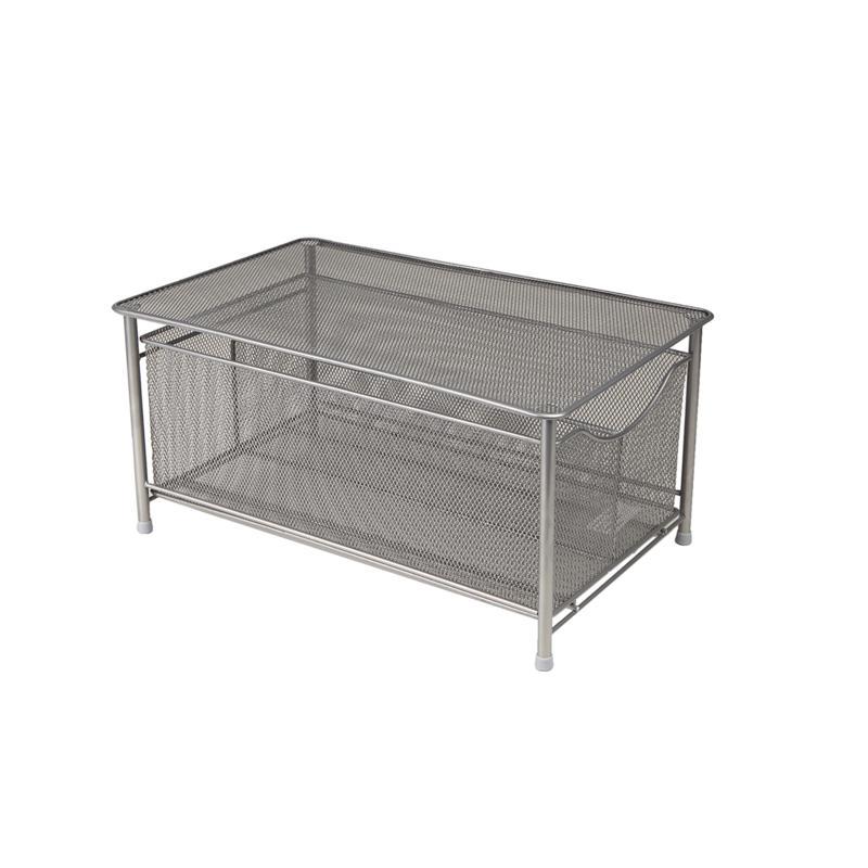 Mind Reader Metal Mesh Storage Basket with Sliding Drawer - Silver