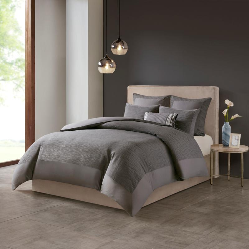 N Natori Hanae Cotton Blend 3-piece King Duvet Cover Set - Grey