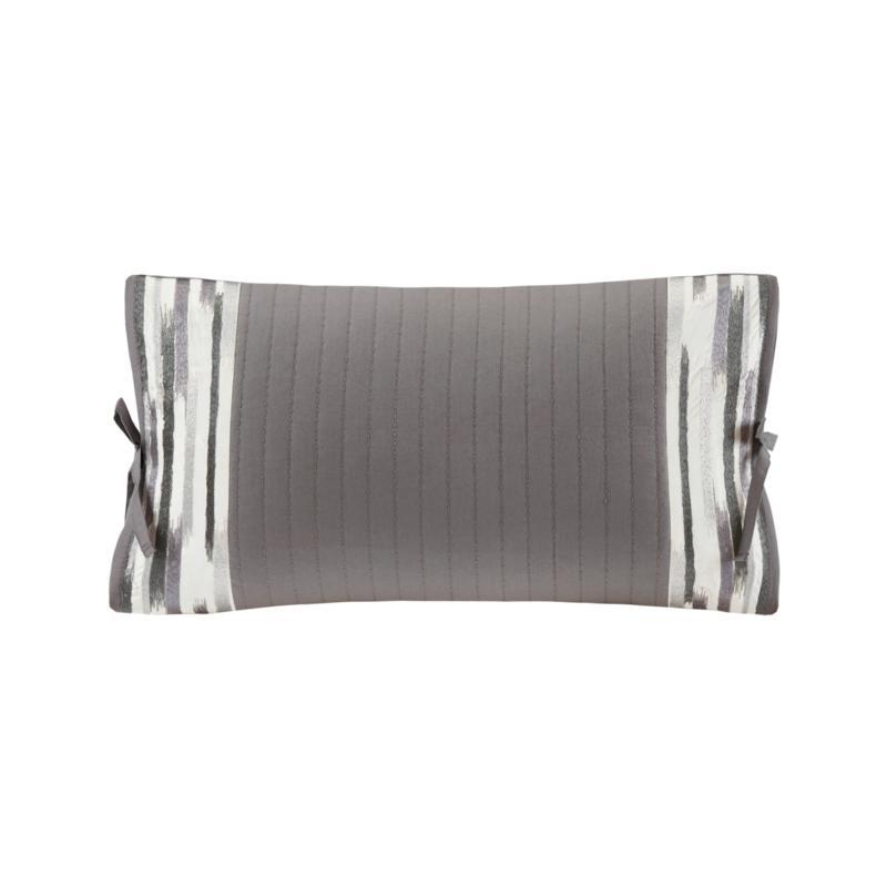 "N Natori Hanae Embroidered Cotton 12"" x 20"" Oblong Pillow - Gray"