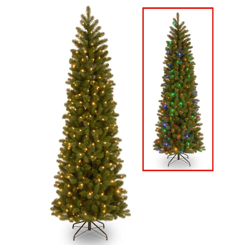 National Tree 6.5' Feel Real® Downswept Fir Pencil Tree w/ 300 LEDs