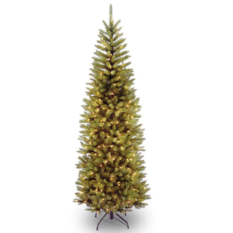 National Tree 7' Kingswood® Fir Pencil Hinged Tree w/ 300 Clear Lights