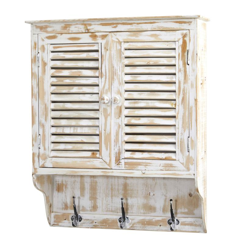 """Nearly Natural 32"""" White Washed Wall Cabinet with Hooks"""