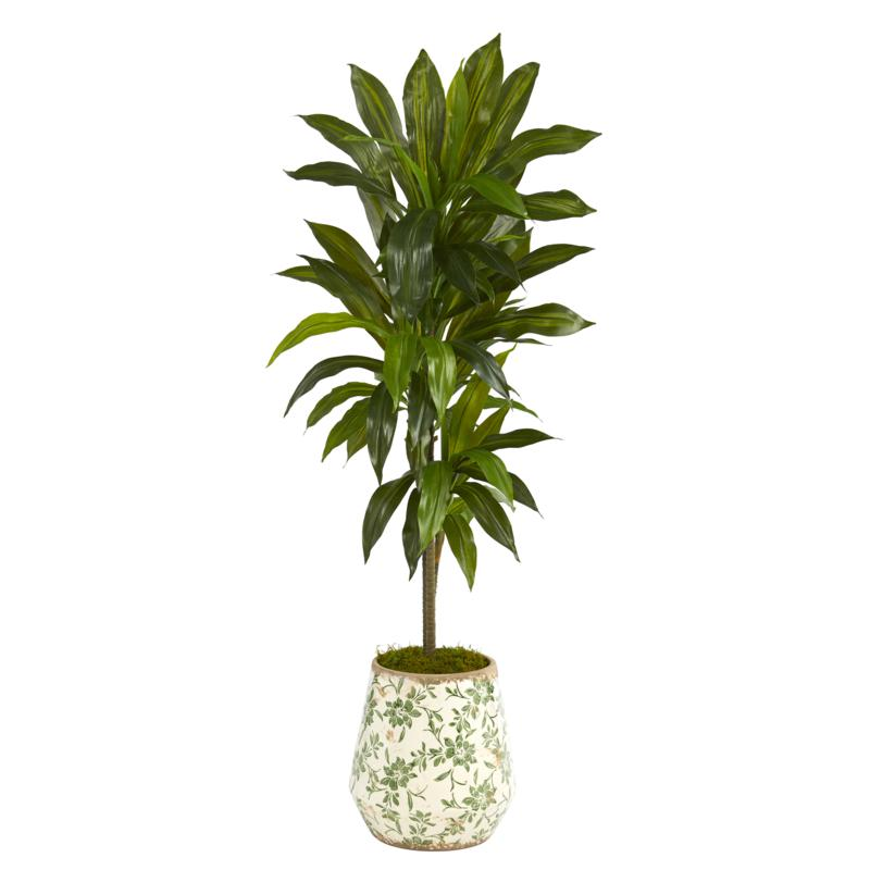 Nearly Natural 4' Dracaena Artificial Plant Flower Planter Real Touch