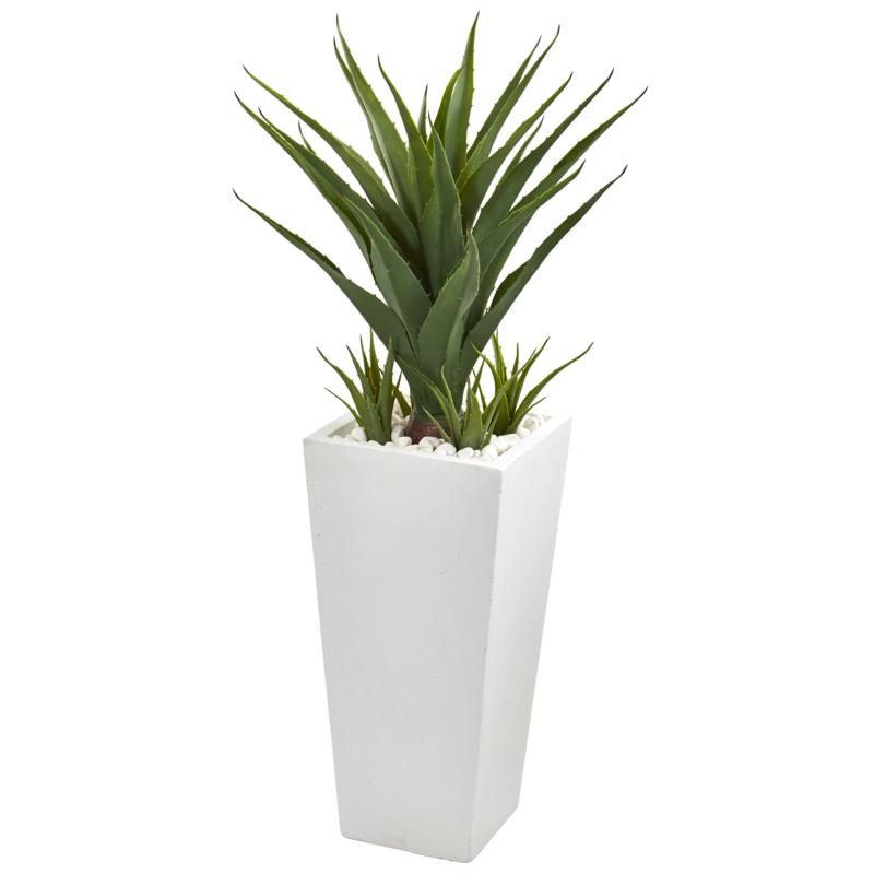"""Nearly Natural 40"""" Spiky Agave Artificial Plant in White Planter"""