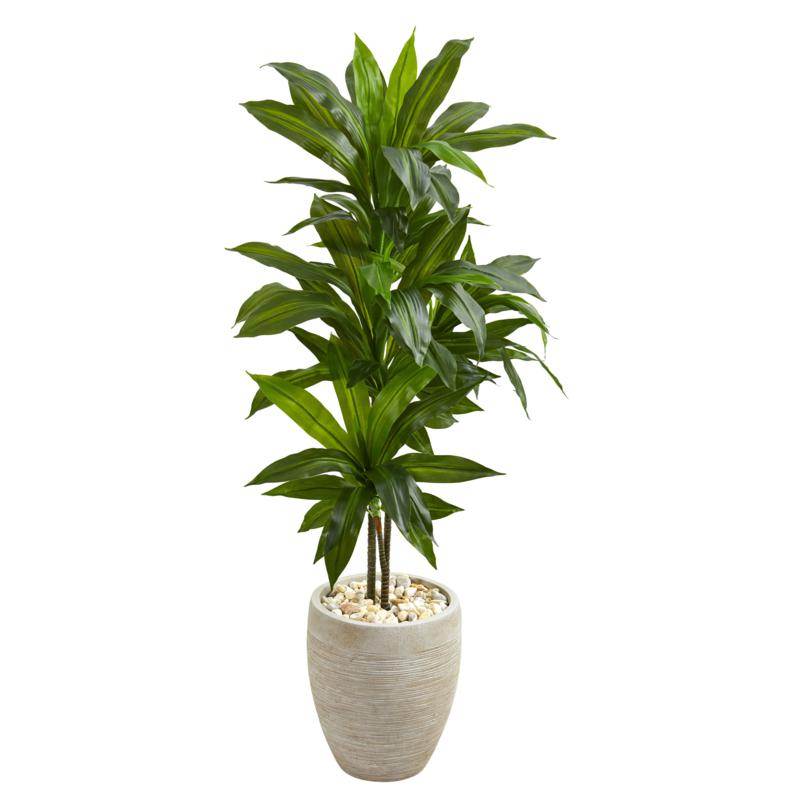 Nearly Natural Dracaena Artificial Plant w Beige Planter- Real Touch