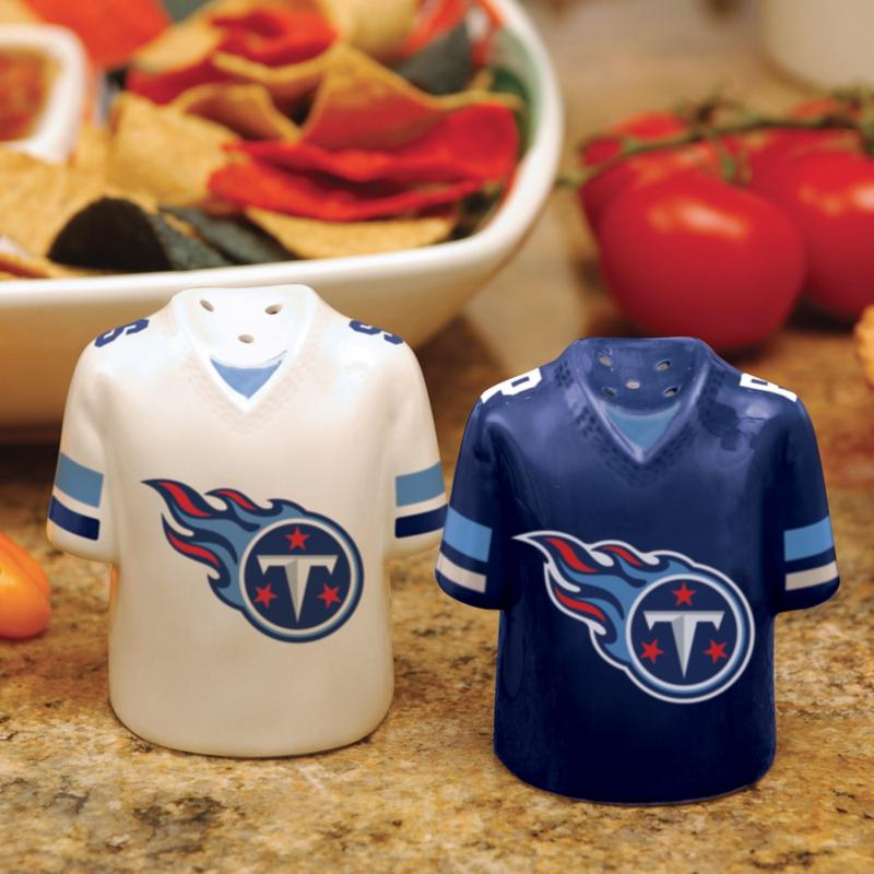 Officially Licensed NFL Jersey Ceramic Salt and Pepper Shakers - Tennessee Titans