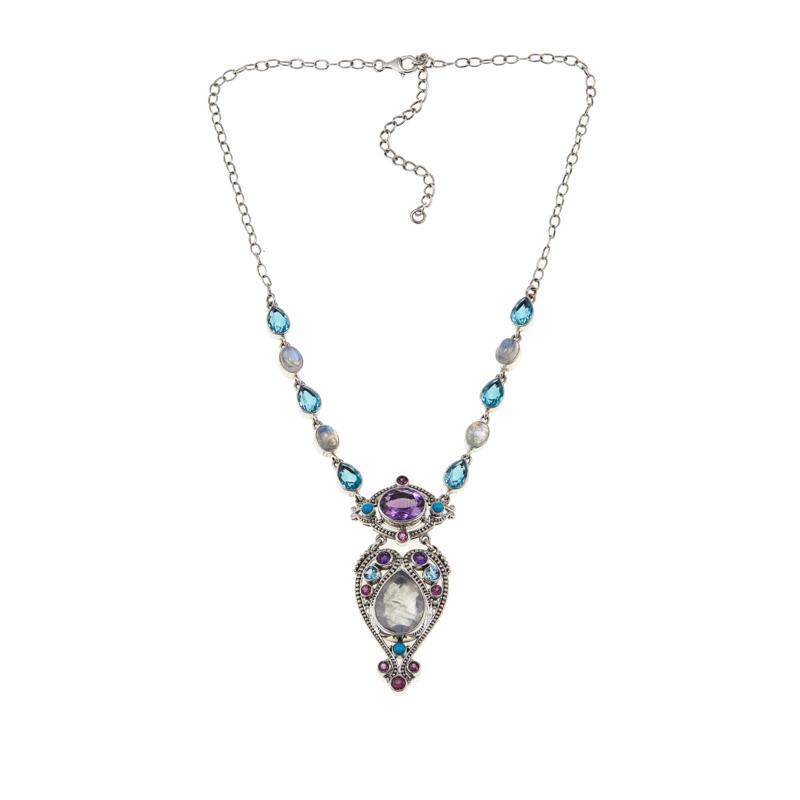 Nicky Butler 23.65ctw Moonstone and Multigemstone Heart Drop Necklace