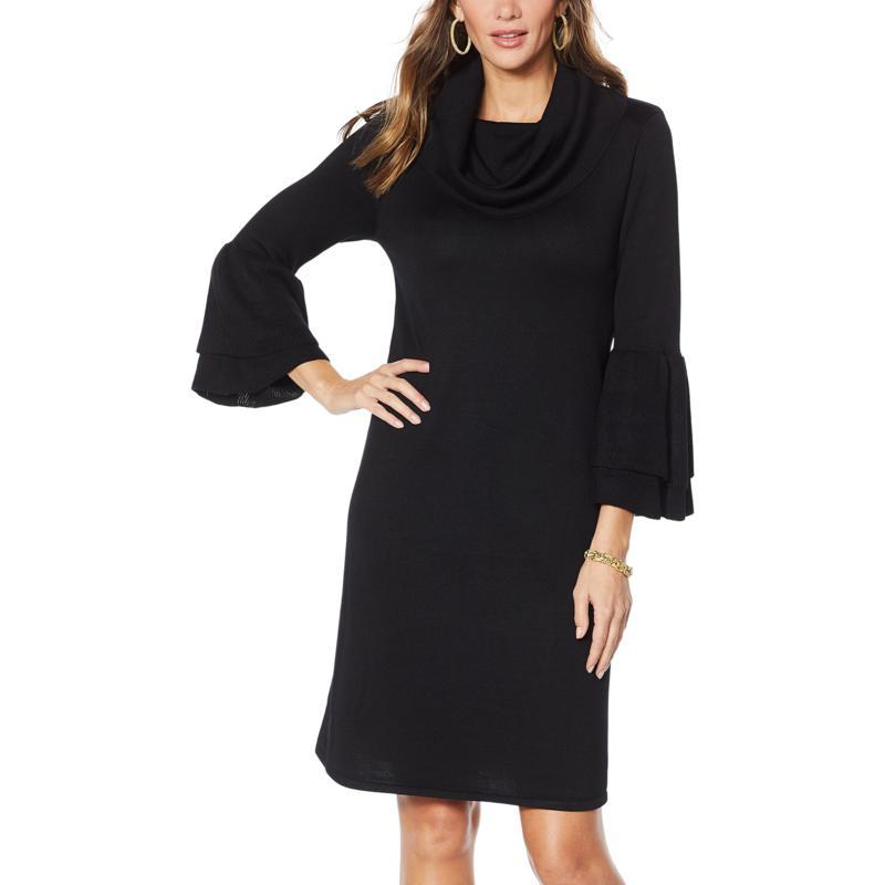 Nina Leonard Cowl-Neck Float Sweater Dress