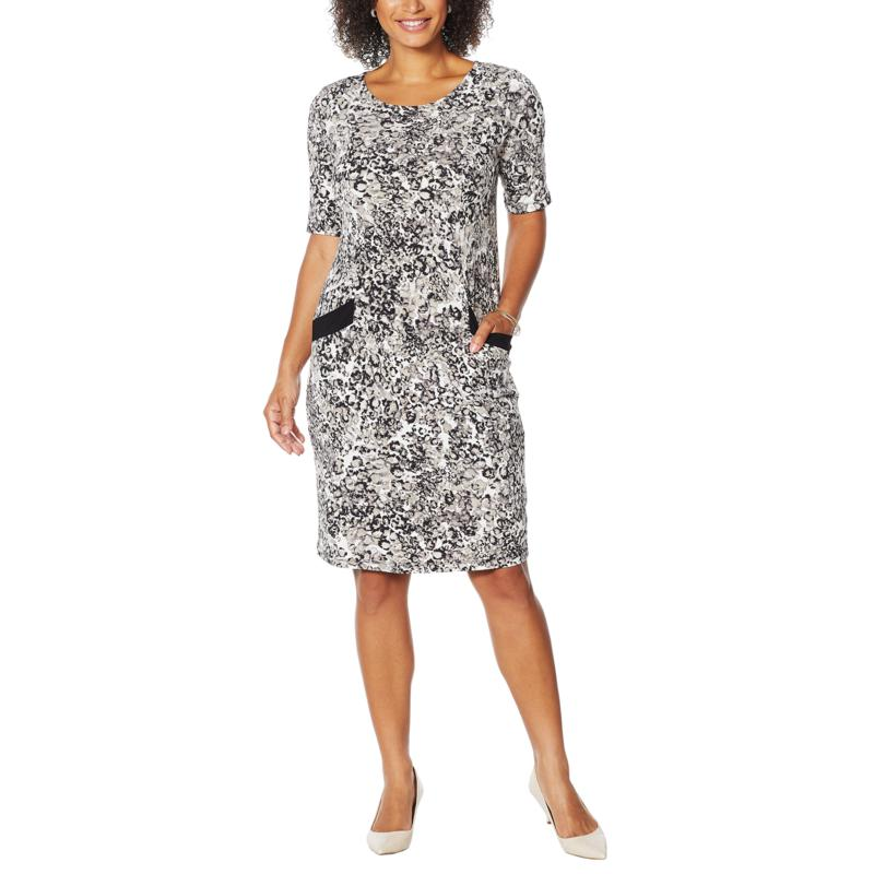 Nina Leonard Printed Sheath Dress with Pockets