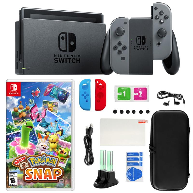 Nintendo Switch Gray with New Pokémon Snap Game and Accessories