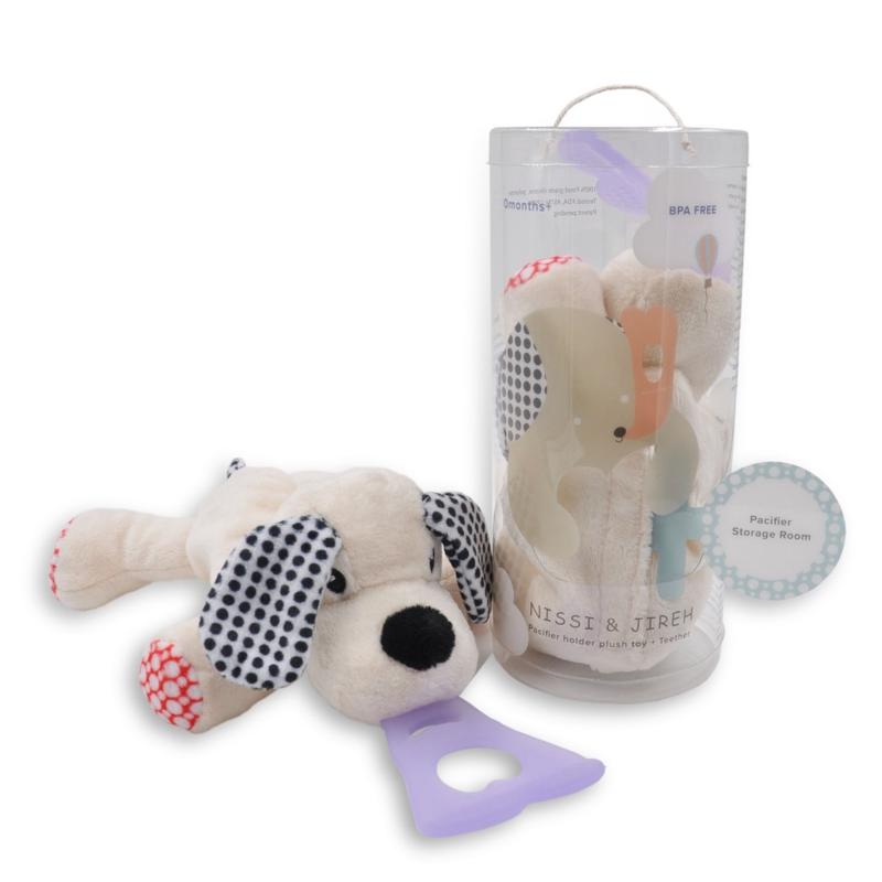 NISSI & JIREH 4-in-1 Universal Pacifier Holder and Teether - Dog