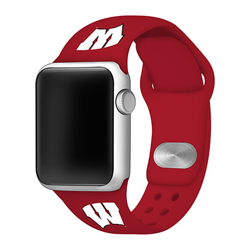 Officially Licensed NCAA 42/44mm Silicone Apple Watch Band - Wisconsin