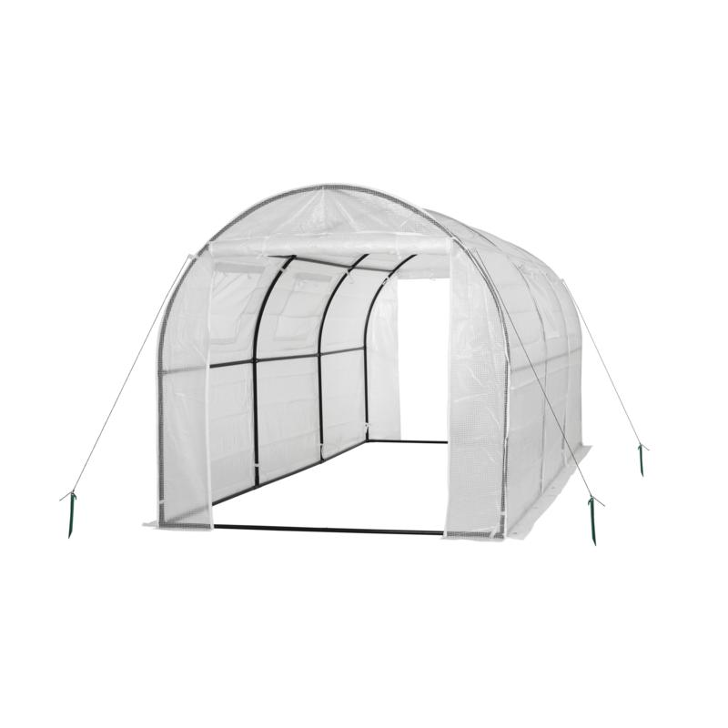 Ogrow Two Door Walk-In Tunnel Greenhouse with Vents & Steel Frame-WHT