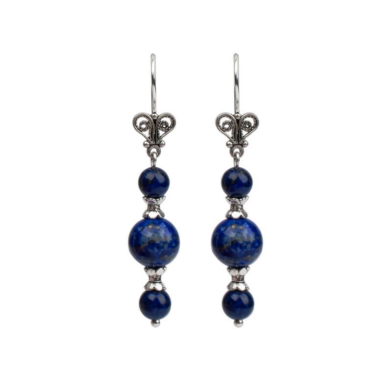 Ottoman Silver Triple-Lapis Filigree Drop Earrings