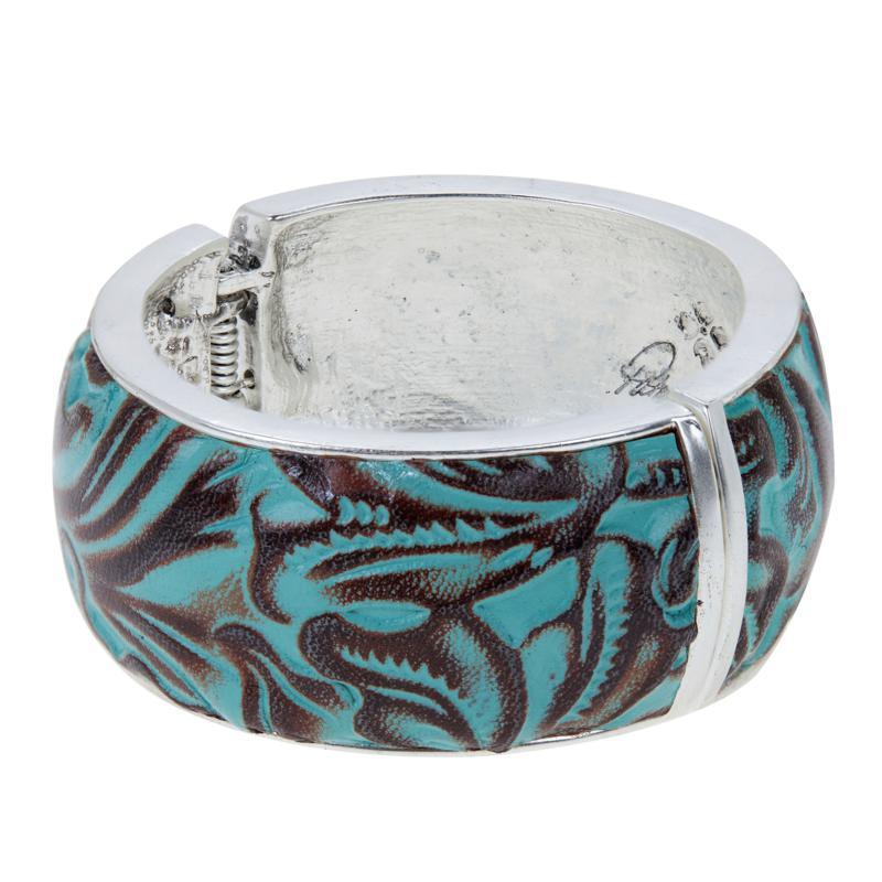 Patricia Nash Florian Leather Inset Hinged Bangle Bracelet