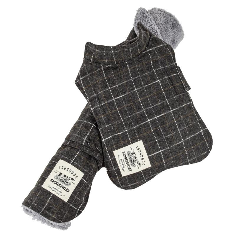 Pet Life 2-in-1 Windowpane Plaid Dog Jacket w/Reversible Dog Mat - L