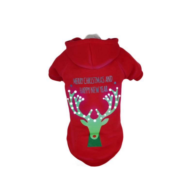 Pet Life LED Lighted Christmas Reindeer Hooded Sweater Pet Costume