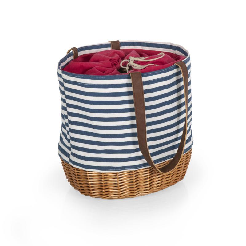 Picnic Time Coronado Basket Tote - Navy Blue & White Stripe