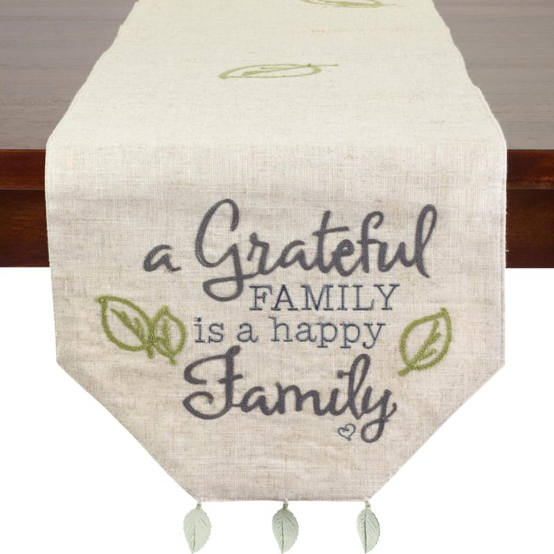 Precious Moments A Grateful Family Is A Happy Family Table Runner 9225131 Hsn
