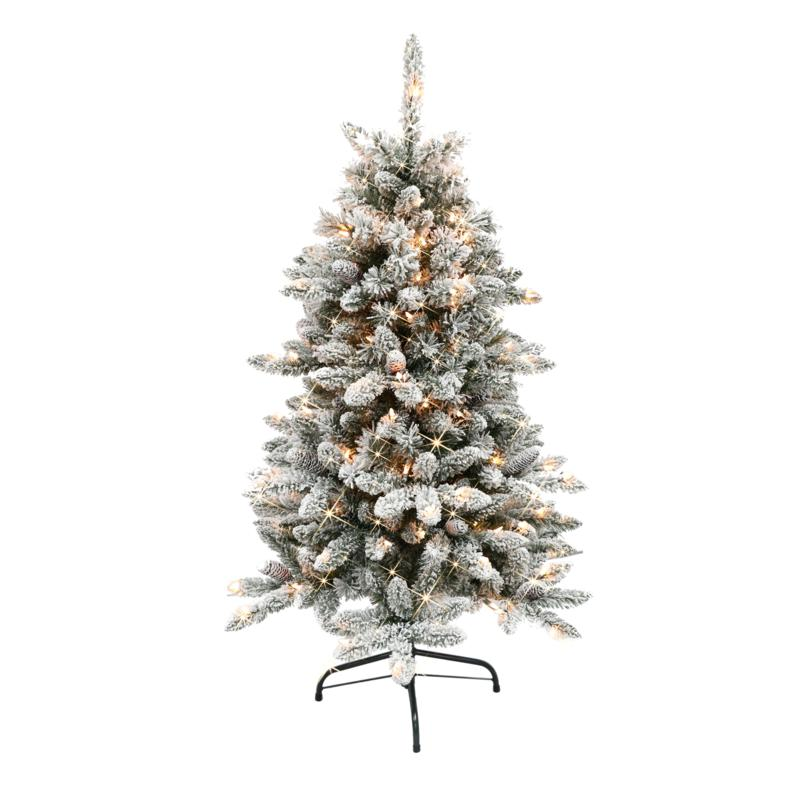 Puleo International 4.5' Pre-Lit Flocked Fir  Christmas Tree