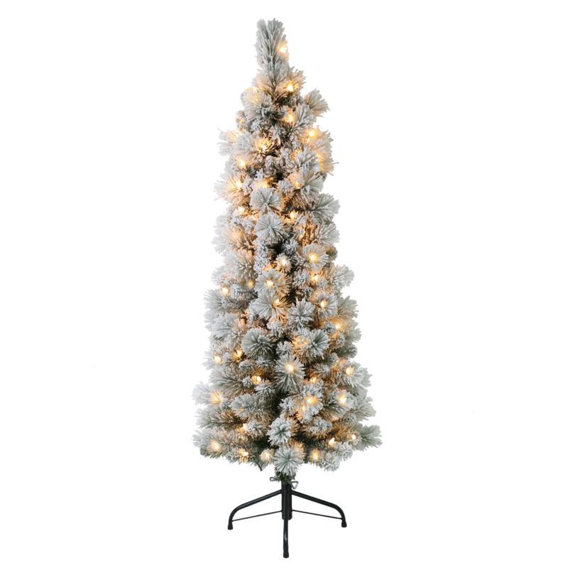 Puleo International 4.5' Pre-Lit Flocked Pencil Christmas Tree