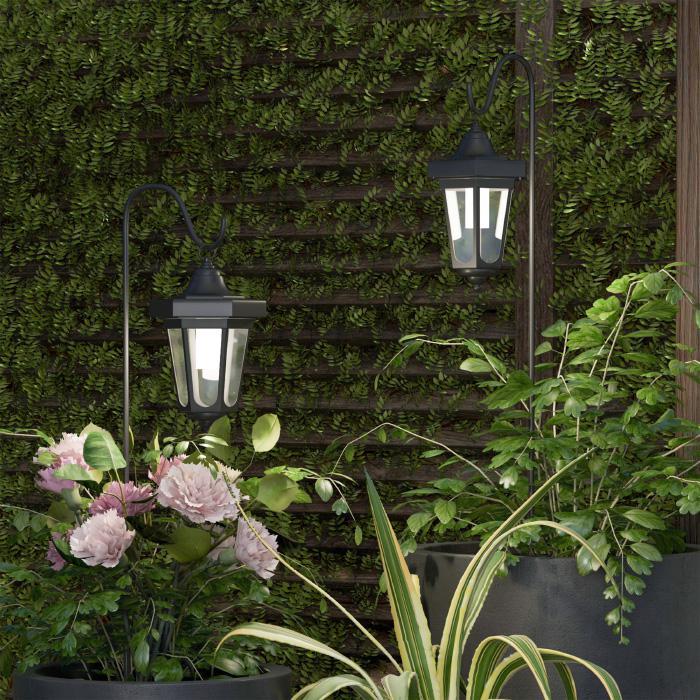 Pure Garden Solar LED Hanging Coach Lanterns - Black