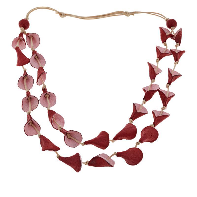 "Rara Avis by Iris Apfel 40"" 2-Row Paper Flower Necklace"