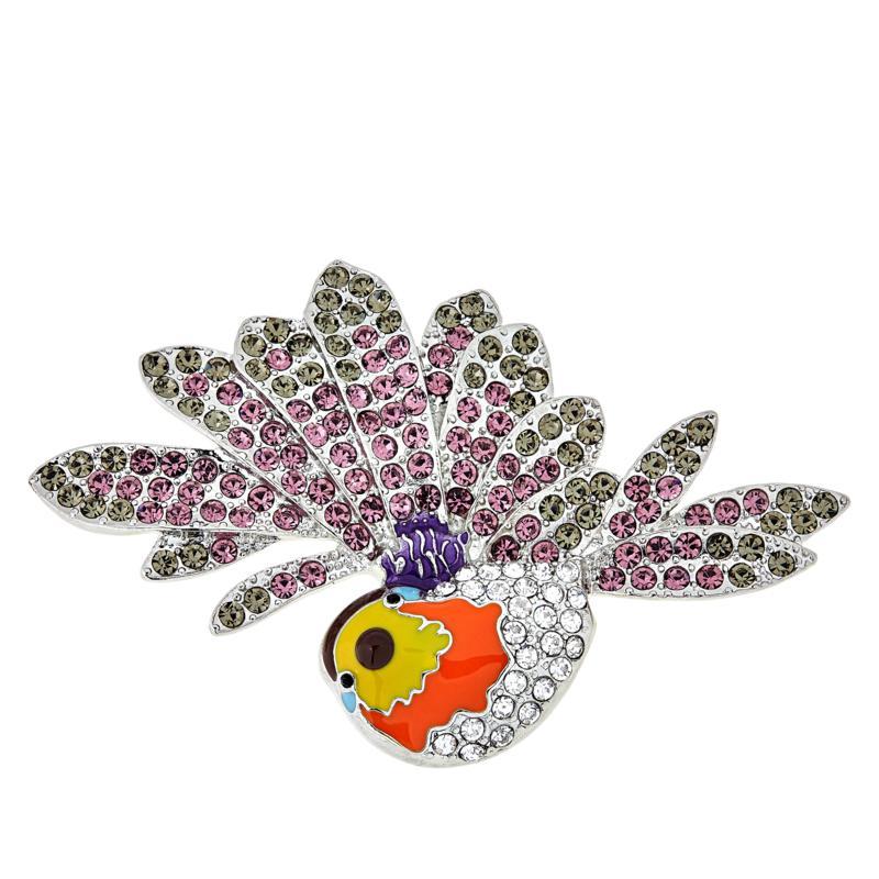 Rara Avis by Iris Apfel Crystal and Enamel Sparrow Brooch