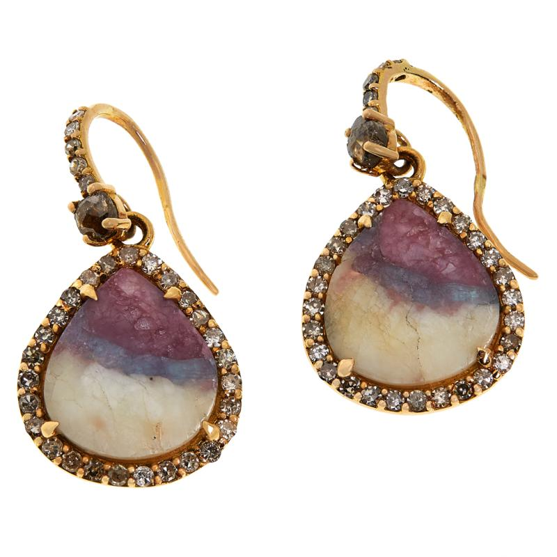 Rarities 18K Rose Gold .92ct Tourmaline in Feldspar & Diamond Earrings