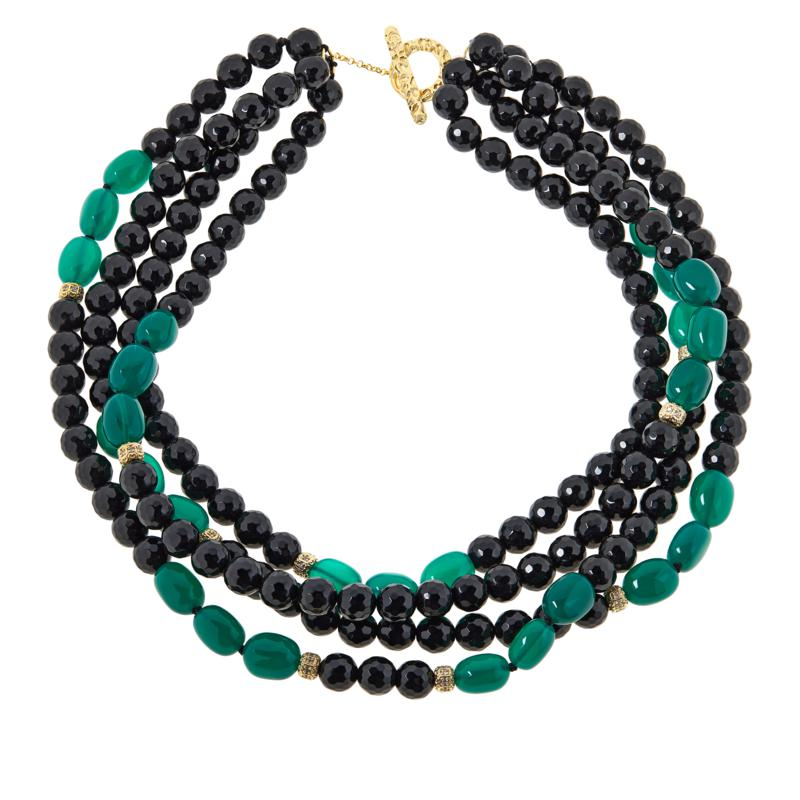 """Rarities 20"""" Gold-Plated Onyx, Green Agate and Zircon Beaded Necklace"""
