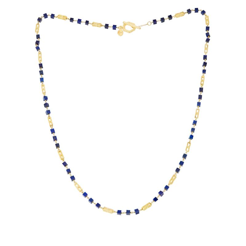 """Rarities 30"""" Gold-Plated Sterling Silver Gemstone Segment Necklace"""