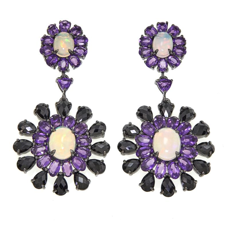 Rarities Ethiopian Opal and Multigemstone Drop Earrings