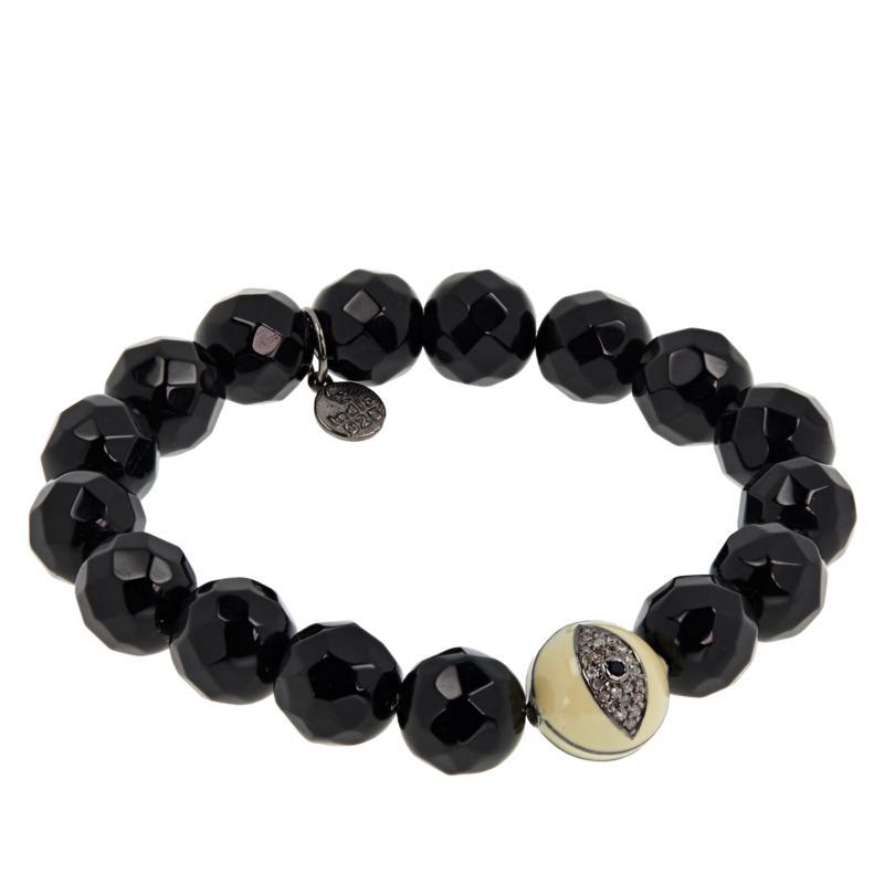 Rarities Evil Eye Gemstone and Black Onyx Beaded Stretch Bracelet