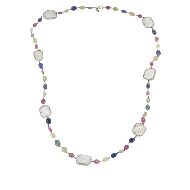 """Rarities Freeform Cultured Pearl and Sapphire Bead 34"""" Necklace"""