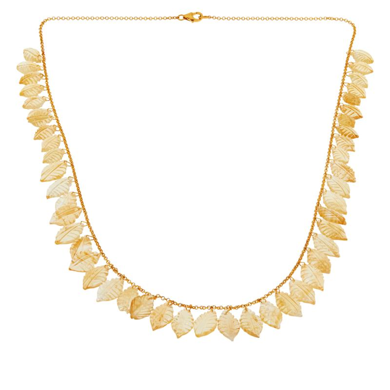 Rarities Gold-Plated Carved Citrine Drop Necklace