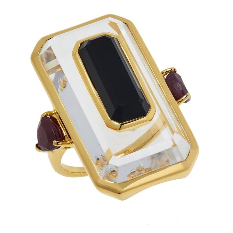 Rarities Gold-Plated Crystal and Gem Stone-in-Stone Special Cut Ring