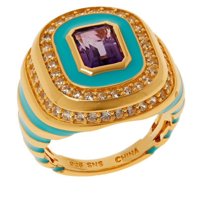 Rarities Gold-Plated Emerald-Cut Gemstone and Enamel Ring