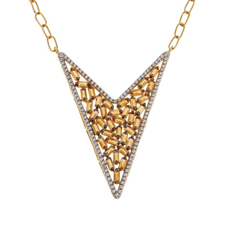 Rarities Gold-Plated Gem and White Zircon V-Shaped Necklace