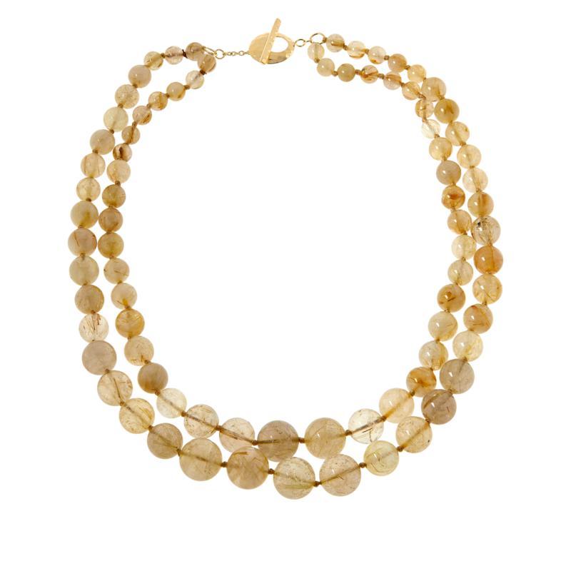 Rarities Gold-Plated Golden Rutilated Quartz 2-Row Beaded Necklace