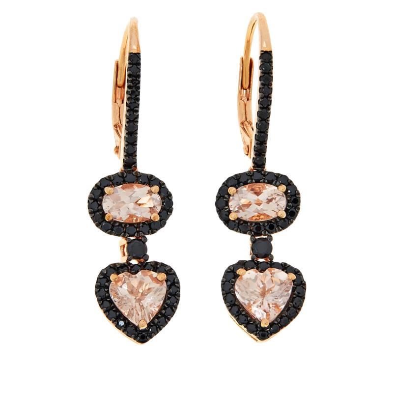 Rarities Gold-Plated Morganite and Black Spinel Drop Earrings