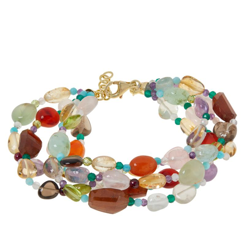"Rarities Gold-Plated Multi-Gemstone 7-1/4"" Multi-Row Beaded Bracelet"