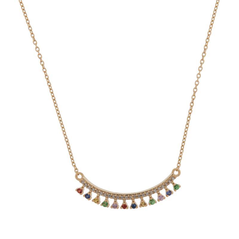 Rarities Gold-Plated Multigemstone Bar-Design Necklace