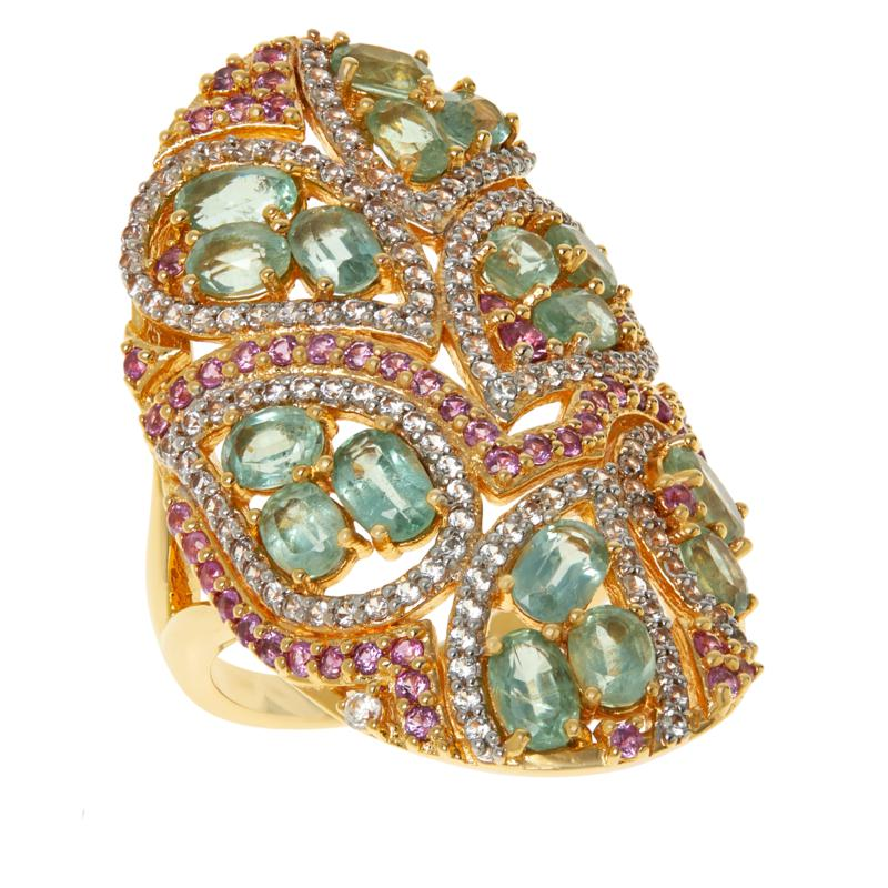 Rarities Gold-Plated Pink Sapphire, Green Kyanite and Zircon Oval Ring