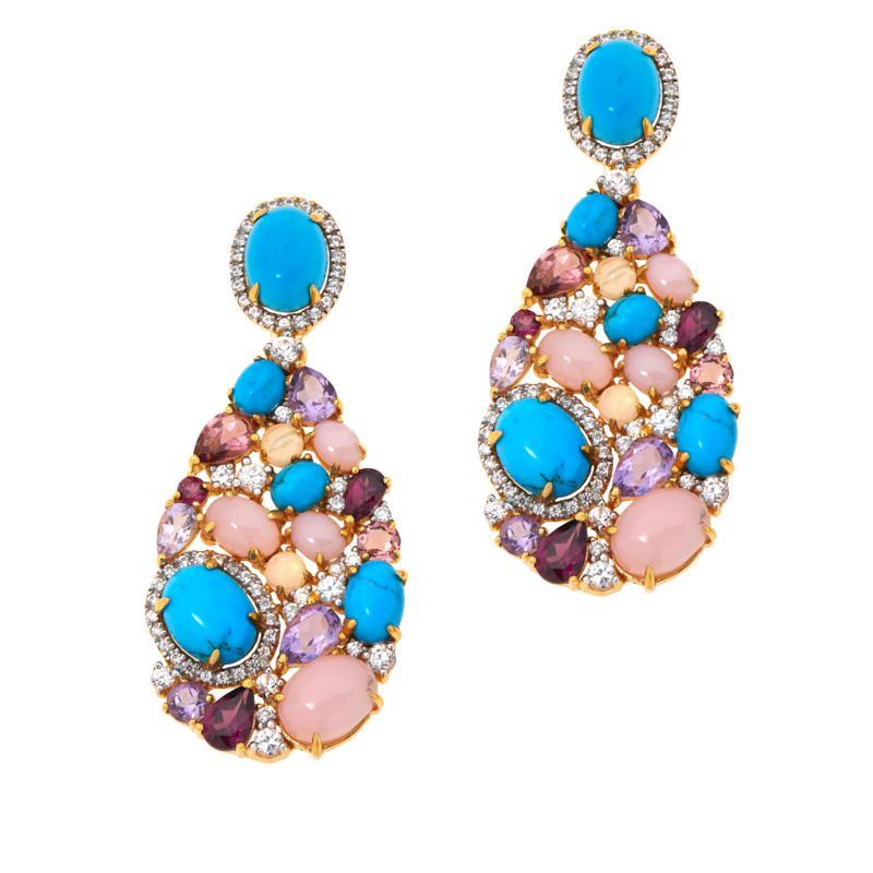 Rarities Goldtone Blue Howlite and Multi-Gemstone Drop Earrings