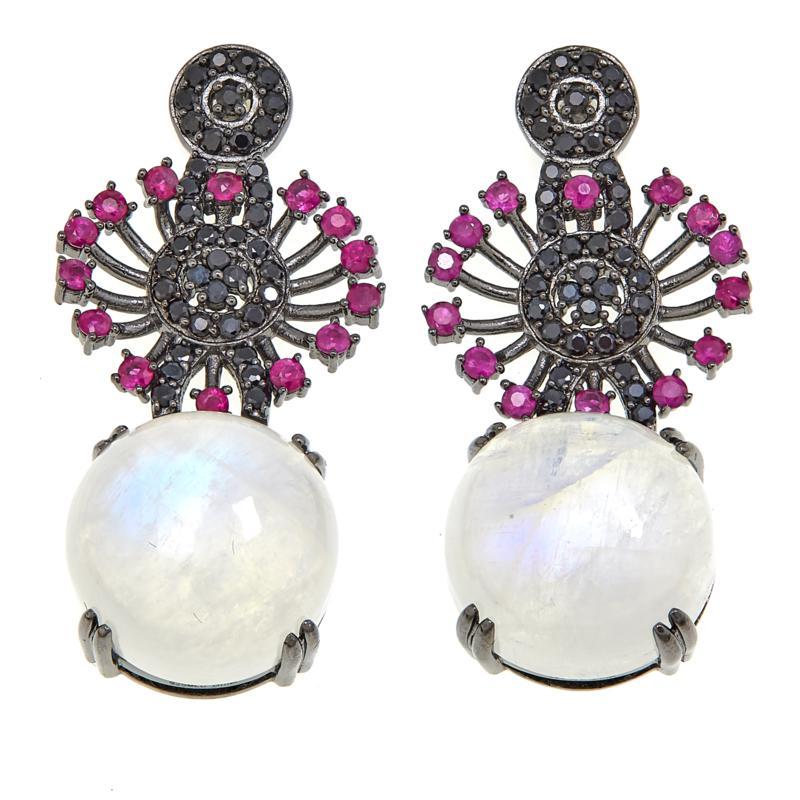 Rarities Moonstone, Ruby and Black Spinel Drop Earrings