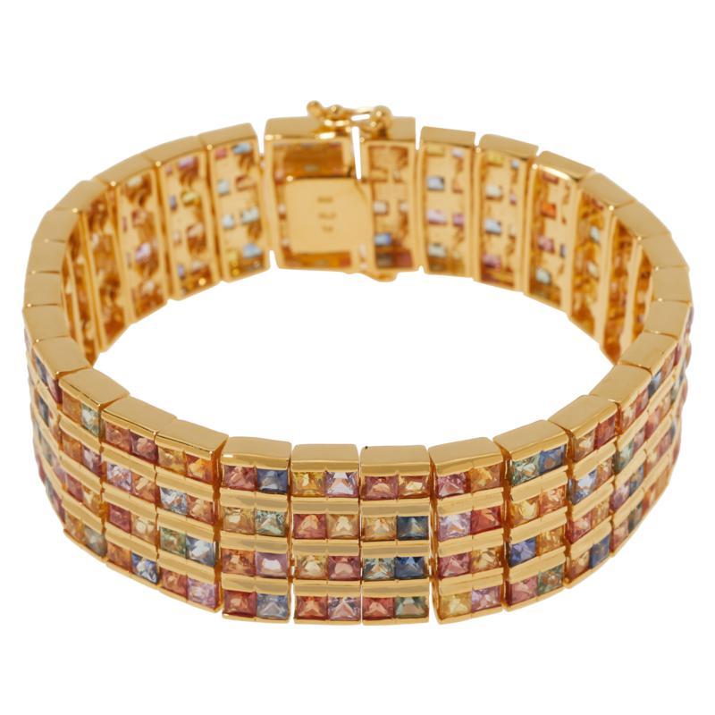 Rarities Multicolored Sapphire 4-Row Line Bracelet