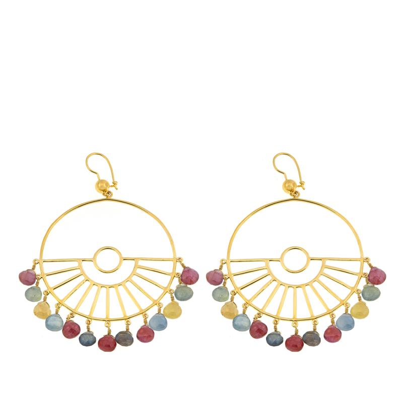 Rarities Sapphire Wagon-Wheel-Design Chandelier Earrings