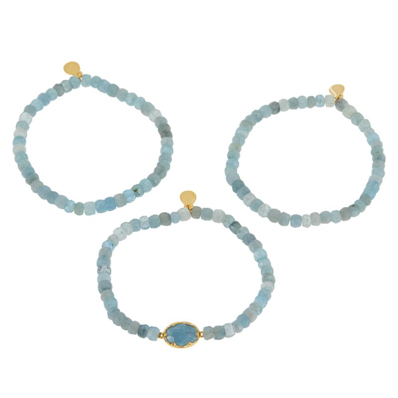 Rarities Set of 3 Faceted Gemstone Beaded Stretch Bracelets